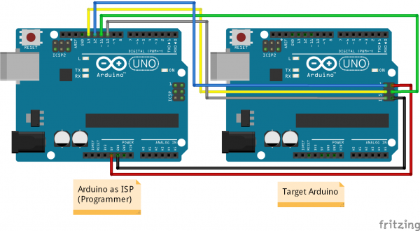 Fritzing Diagram of Arduino as ISP Connected to Target Arduino