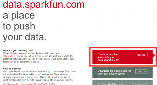 Data.sparkfun.com front page