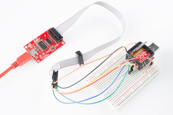AVR Pocket programmer and resistor-ed MicroView