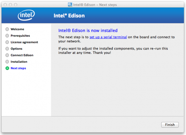 Intel Edison Installer Completed