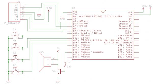 mbed soundboard wave player schematic