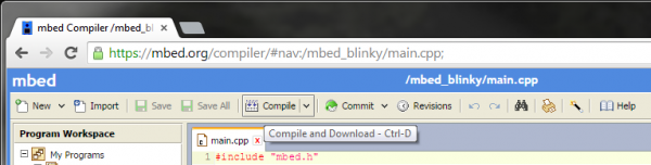 mbed compile button