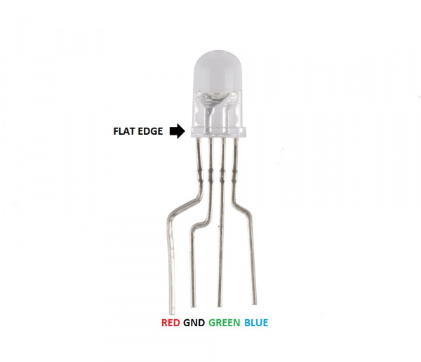 RGB LED common cathode annotated
