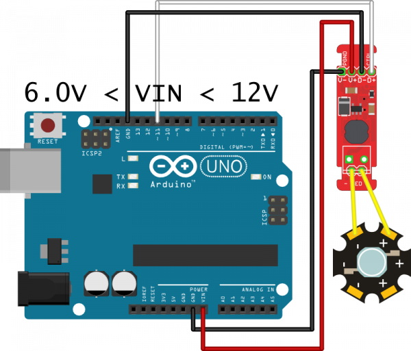 Arduino hookup image, one LED