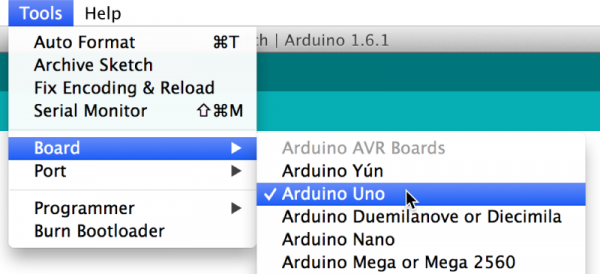 Arduino IDE board selection