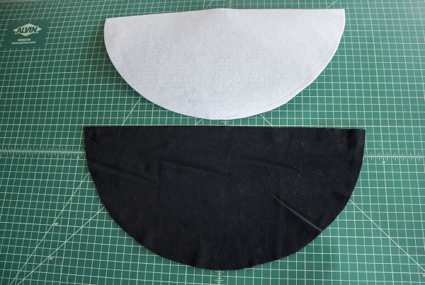 Interfacing & Velvet Half Circles