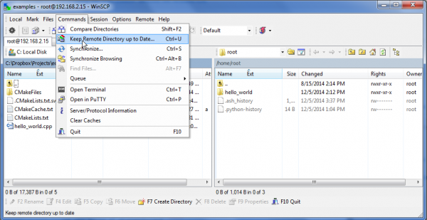 WinSCP, showing the menu option for synchronizing directories
