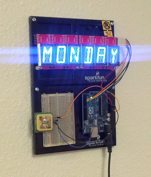 Clock showing monday