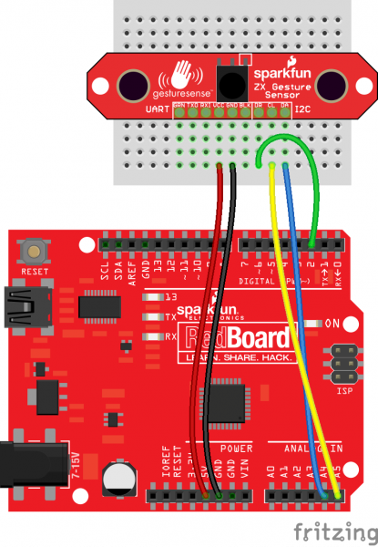 ZX Sensor to Arduino Fritzing diagram