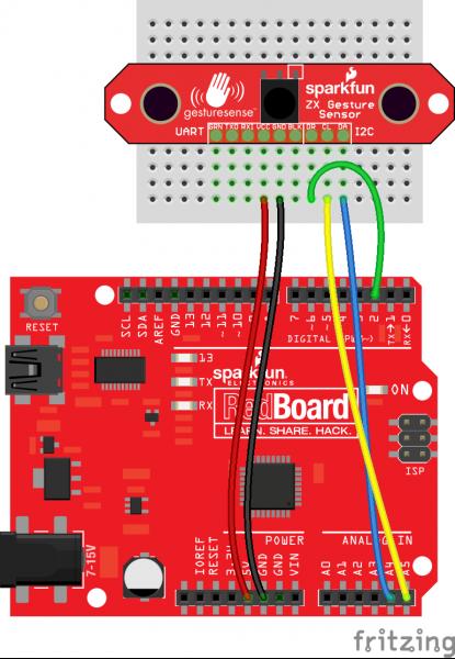 ZX Sensor to Arduino Fritzing diagram