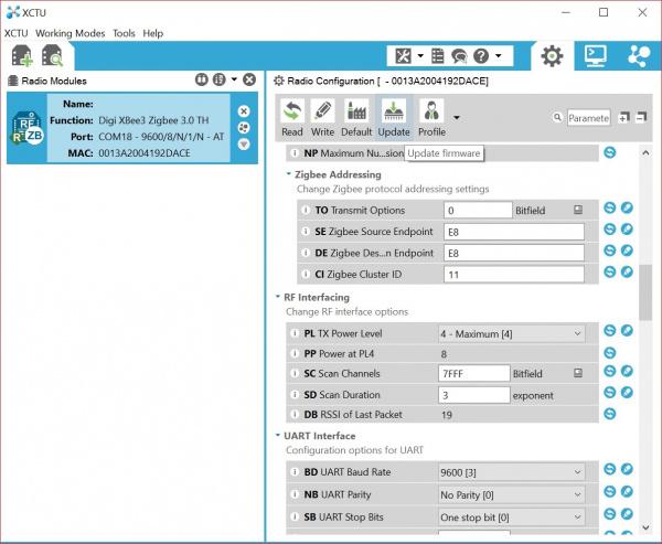 XBee 3 Disconvered in Digi's X-CTU Software