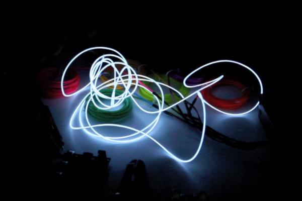 White EL Wire Glowing