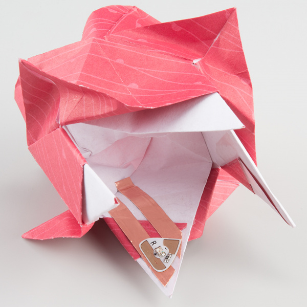 Inside of origami rose before the last fold