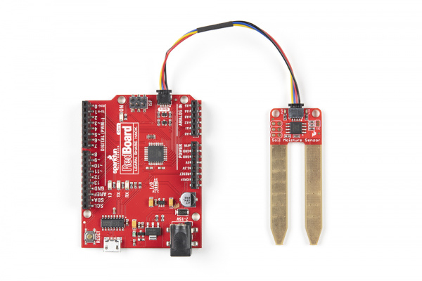 Qwiic Redboard and Qwiic Soil Moisture sensor connected by Qwiic cable
