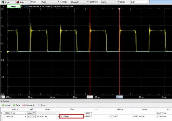 Tuning frequency with oscilloscope