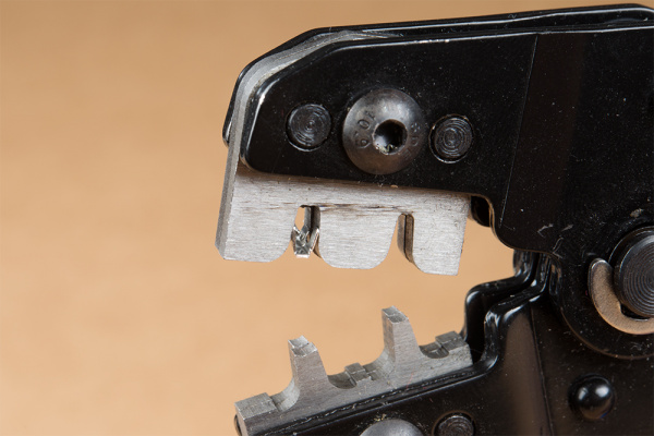 Crimp Pin Inserted in Crimp Tool