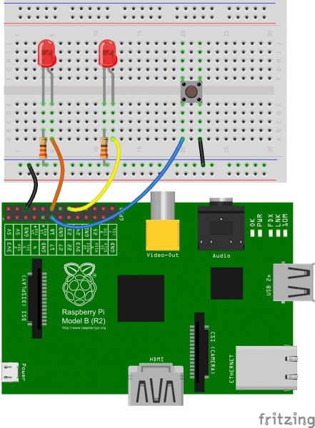 Fritzing Diagram of A Raspberry Pi Connected to LEDs and Button