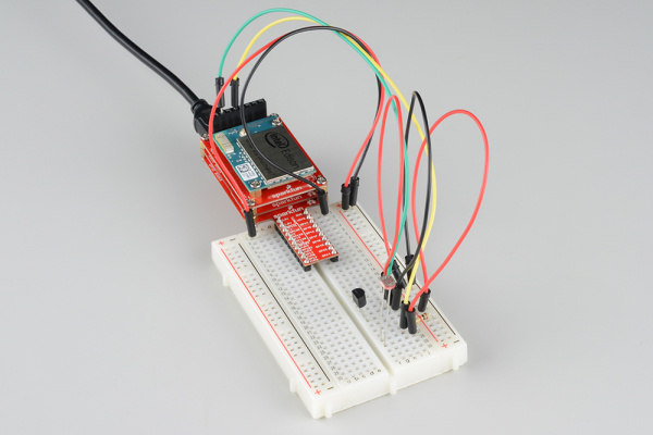 Temperature and light sensors connected to the Edison