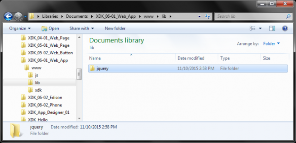 jquery directory in project
