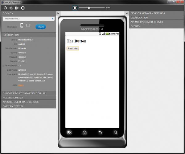 XDK Phone Emulator