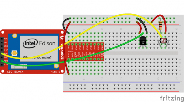 Temperature and light sensors connected to the Edison Frtizing diagram