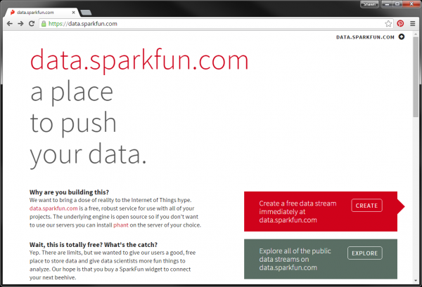 data.sparkfun welcome page