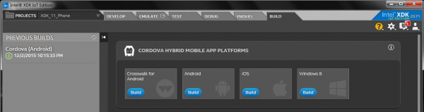 XDK Build tab