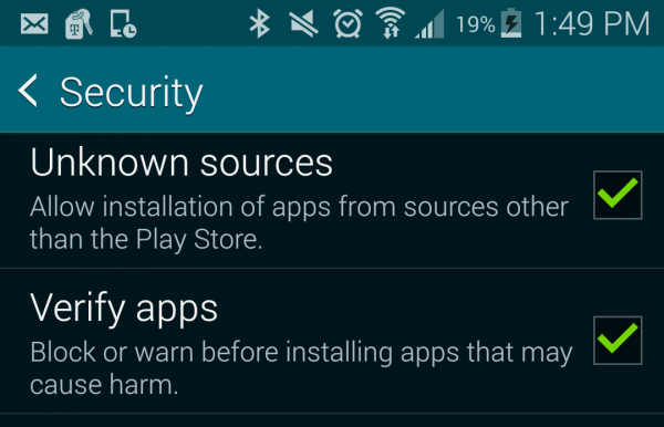 Unknown Sources in Android