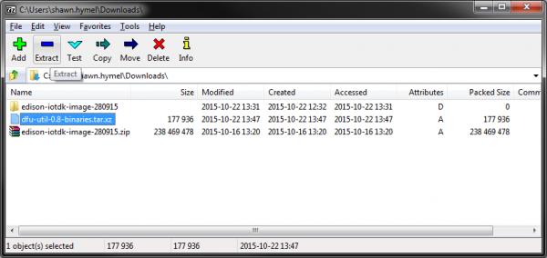Unzipping dfu-util in Windows