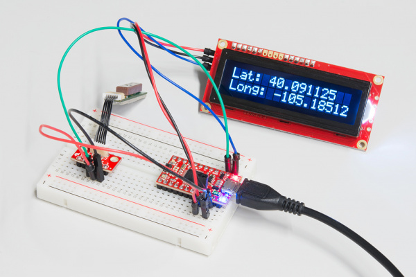 GPS and serial LCD connected to the SAMD21's hardware UART