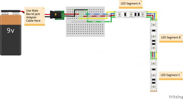 Fritzing Diagram Wearable LED Harness Circuit