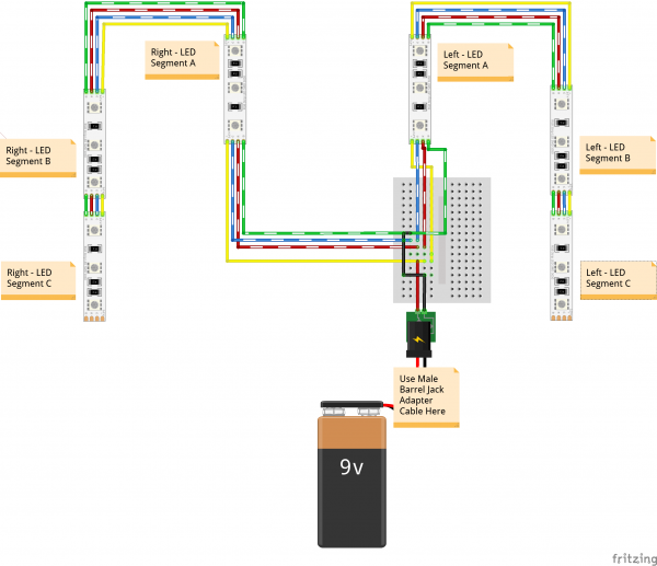 Fritzing Diagram Wearable LED Harness Fill Circuit