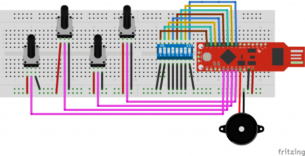 All jumper connections have been made on the breadboard