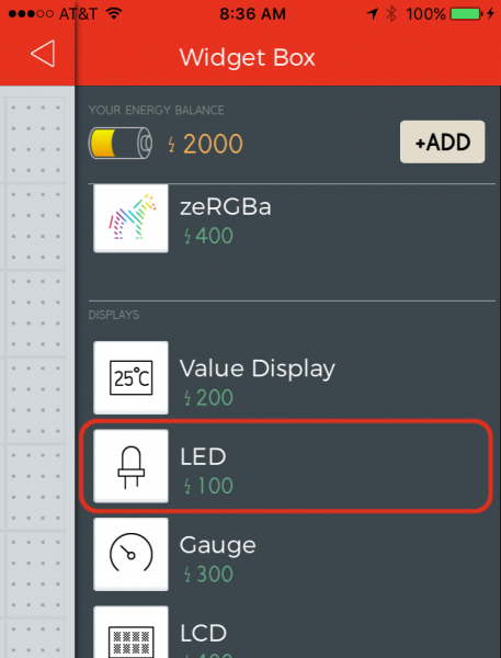 Adding an LED from the Widget box