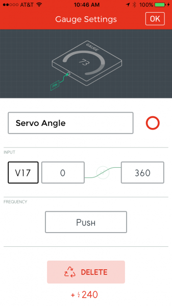 Gauge angle output settings