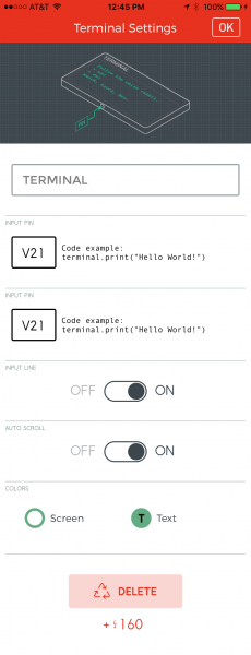 Terminal widget settings