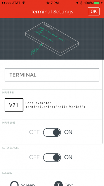 Terminal widget settings