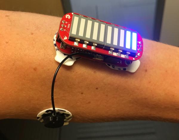 MyoWare LED Shield on an arm