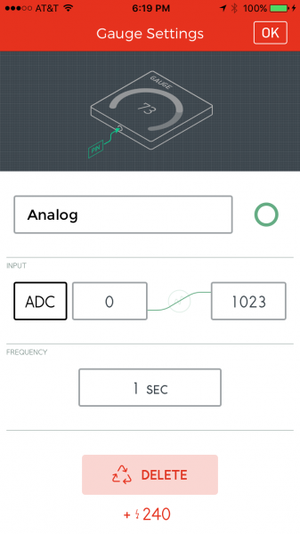 Configure the gauge widget to read the ADC