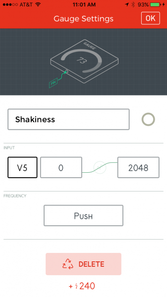 Shakiness gauge settings