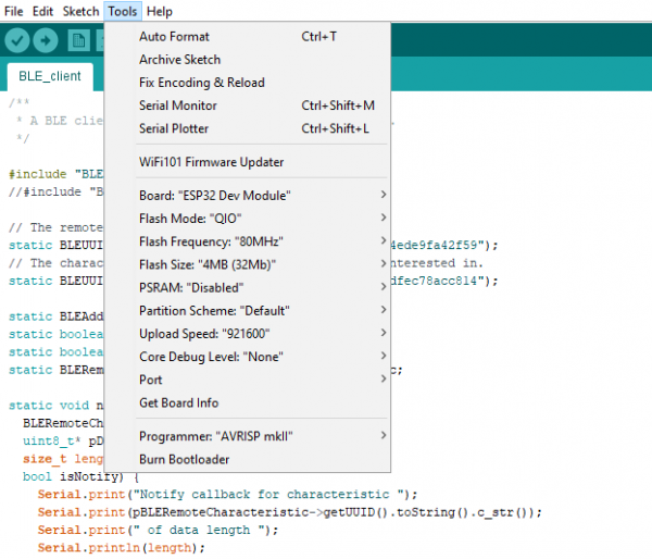 Tools menu with Board: ESP32 Dev Module option selected