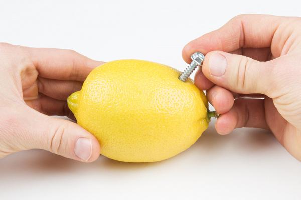 Make the anode in the lemon battery