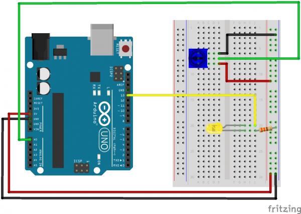 Arduino Uno Fritzing Potentiometer