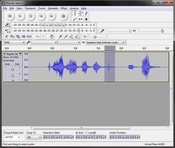 Audio editing in Audacity