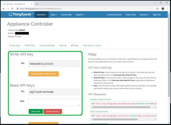 API read/write key