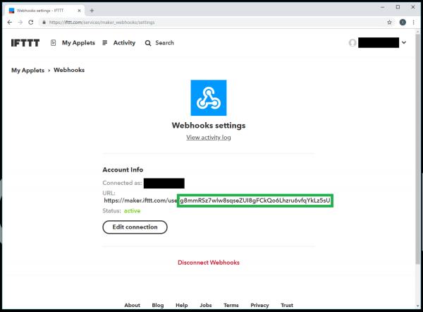 Webhooks settings