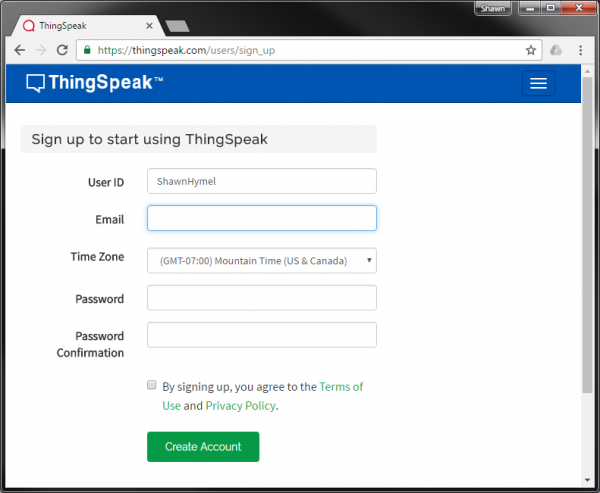 ThingSpeak signup