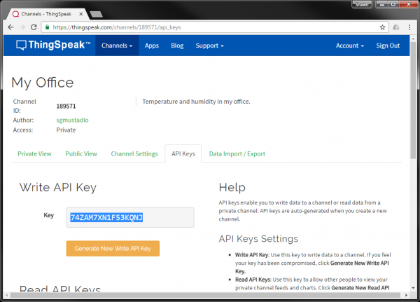 Write API Key