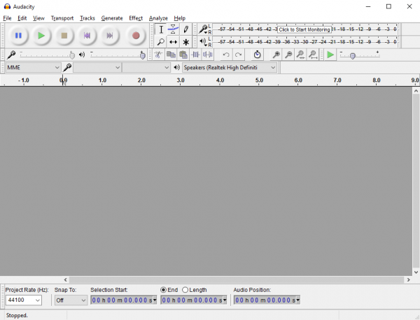 Audacity main screen