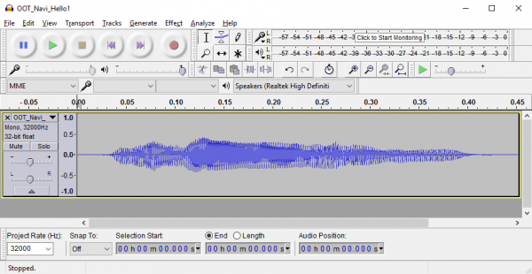File open in Audacity